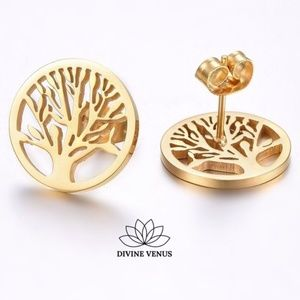 Tree of Life Gold Plated Stainless Steel Earrings